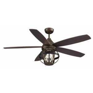 5 Blade Ceiling Fan with Light Kit - Transitionalstyle with Farmhouse and Transitional inspirations - 16.1 inches tall by 52 inches wide