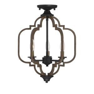 3 Light Semi-Flush Mount - Farmhousestyle with Rustic and Transitional inspirations - 18.5 inches tall by 14 inches wide