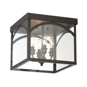 4 Light Flush Mount-Traditional Style with Transitional and Bohemian Inspirations-11 inches tall by 12.38 inches wide