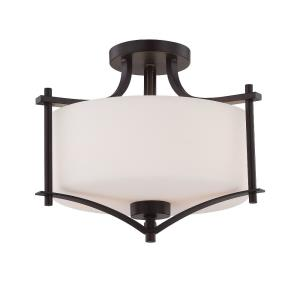 2 Light Semi-Flush Mount - Transitionalstyle with Contemporary and Traditional inspirations - 12 inches tall by 15 inches wide