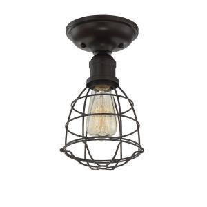 1 Light Semi-Flush Mount-Industrial Style with Rustic Inspirations-10.5 inches tall by 5.75 inches wide