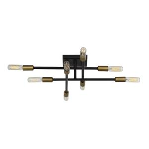 8 Light Semi-Flush Mount - Industrialstyle with Vintage and Contemporary inspirations - 4.75 inches tall by 19.5 inches wide