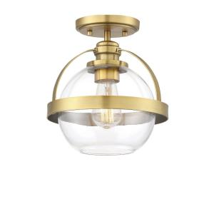 1 Light Semi-Flush Mount - Mid-Century Modernstyle with Contemporary and Transitional inspirations - 9.75 inches tall by 9.38 inches wide