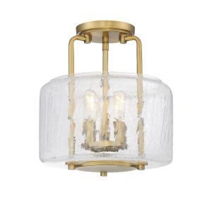 3 Light Semi-Flush Mount - Transitionalstyle with Traditional and Farmhouse inspirations - 12.25 inches tall by 11.38 inches wide