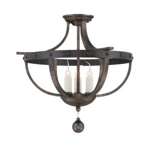 3 Light Semi-Flush Mount - Traditionalstyle with Rustic and Farmhouse inspirations - 17 inches tall by 20 inches wide