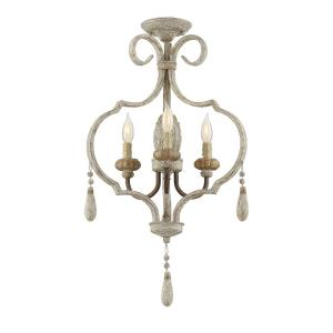 3 Light Semi-Flush Mount - Shabby Chicstyle with Farmhouse and Rustic inspirations - 26.75 inches tall by 18.75 inches wide