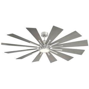 12 Blade Ceiling Fan with Light Kit - Farmhousestyle with Contemporary and Rustic inspirations - 8.08 inches tall by 60 inches wide