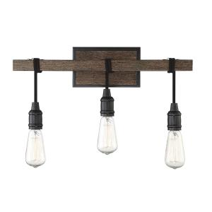 3 Light Bath Bar-Industrial Style with Farmhouse and Rustic Inspirations-10.25 inches tall by 20 inches wide