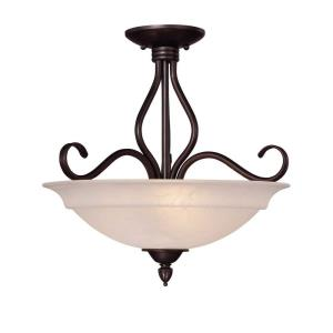 Three Light Semi-Flush Mount - 16.25 inches tall by 16.5 inches wide