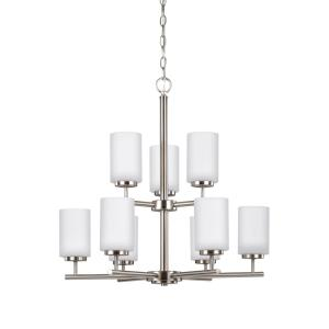 "Oslo - 26"" 83.7W 9 LED 2-Tier Chandelier"