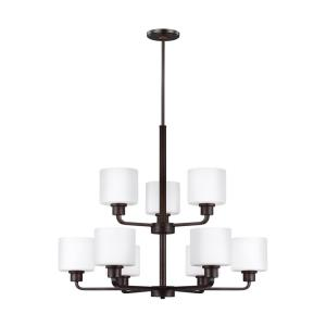 Canfield - 75W Nine Light 2-Tier Chandelier