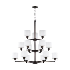 Canfield - 60W Fifteen Light 3-Tier Chandelier