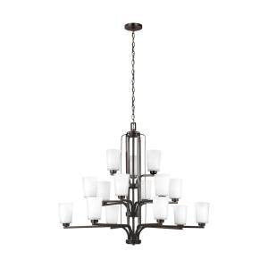 Franport - 60W Fifteen Light 3-Tier Chandelier