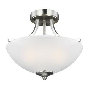 Geary - 2 Light Small Semi-Flush Convertible Pendant in Transitional Style - 13.88 inches wide by 12.38 inches high