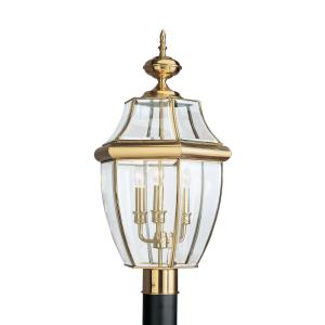 Three Light Outdoor Post Fixture in Traditional Style - 13 inches wide by 24 inches high