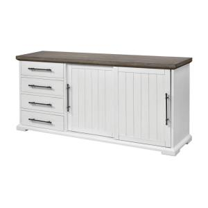 Locksmith - 72 Inch Sliding Door Credenza with 4 Drawers