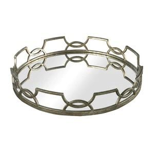 "Hucknall - 16"" Mirrored Tray with Iron Scrollwork"