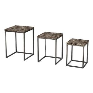 "13"" Leopard Print Stacking Table - Set of 3"