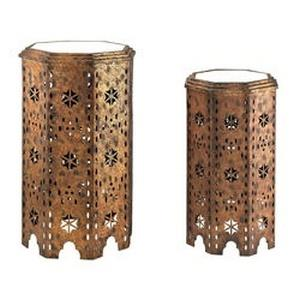 "Essouria - 27"" Moroccan Side Table with Mirror Top (Set of 2)"