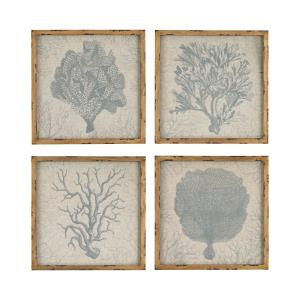 "Coastal - 16"" Coral Prints on Linen Wall Decor (Set of 4)"