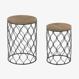"28"" Mesh Drum Table (Set of 2)"