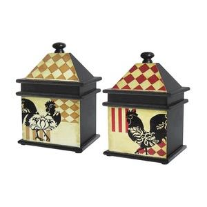 Harlequin Rooster - 11 Inch Box (Set of 2)