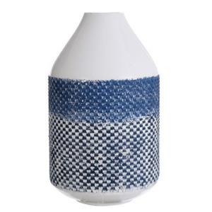 "Cree - 14"" Checkered Cylinder Metal Vase"