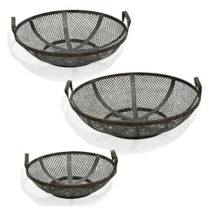 "Adornment - 20.87"" Mesh Metal Basket with Handles (Set of 3)"