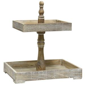 Adornment - 18 Inch Rectangular Tiered Wood Tray