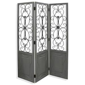 "Gilsbury - 72"" Ornate Wood and Metal Scroll Floor Screen"