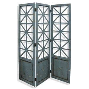 "Gilsbury - 72"" Ornate Wood and Metal X Panel Floor Screen"