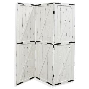 "Adornment - 72.25"" Barn Door Wood and Metal Floor Screen"