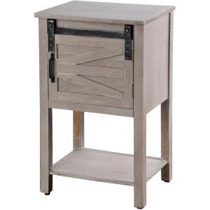 28.25 Inch 1 Door and Bottom Shelf Wooden Side Table