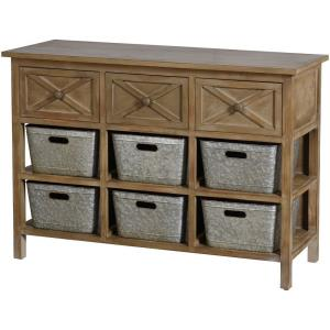 47.25 Inch 3 Drawer Wooden Side Table with Shelves