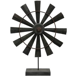 "Coffee Windmill - 26"" Wooden Table Sculpture"