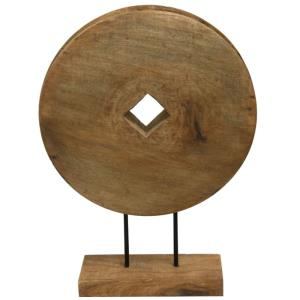 "Native Wheel - 21"" Wood Carved Table Sculpture"