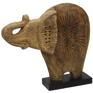 "Native Elephant - 20"" Wood Carved Table Sculpture"