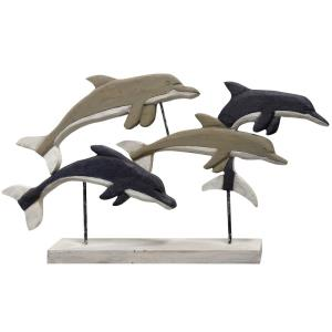 "Native Dolphins - 33"" Wood Carved Table Sculpture"