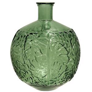 17.32 Inch Round Embossed Spanish Glass Vase
