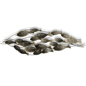"Fish School - 53.5"" Fish School - Hand Made Metal Wall Sculpture"
