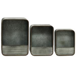 6.5 Inch Rectangular Decorative Metal Wall Storage (Set of 3)