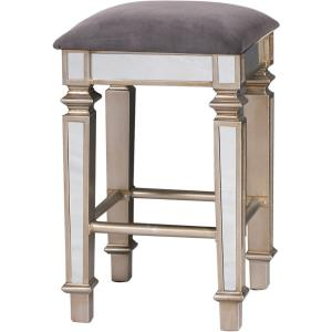 """28"""" Mirrored Upholstered Square Stool"""