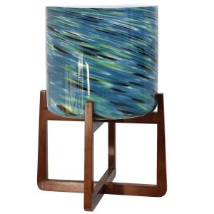 Vivian - 20 Inch Glass Planter on Wood Stand