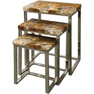 "Sea Bed - 27.25"" Sea Shell Top Nesting Table (Set of 3)"