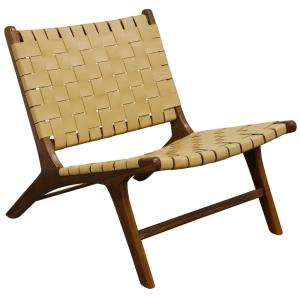 Charles - 26.8 Inch Woven Leather and Teak Lounge Chair