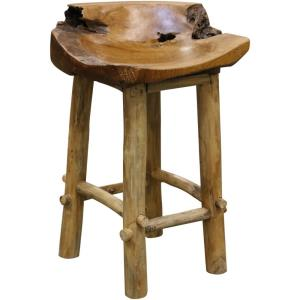 Basin - 32 Inch Natural Wood Counter Stool with Raw Edge Detail
