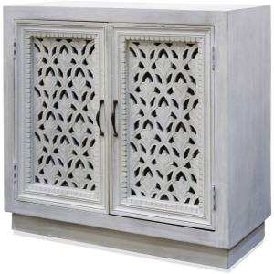 "Ornate Carved Jali - 36"" Two Door Cabinet with Metal Hardware"