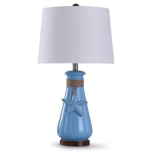 Serenity - One Light Seaside Ceramic Table Lamp with Starfish And Rope Detail