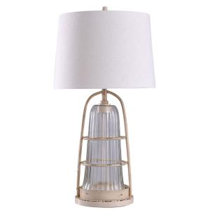 Beacon - One Light Caged Ribbed Glass Table Lamp