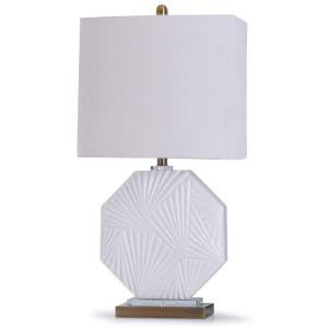 Canvey - One Light Geometric Emobossed Pattern Octagon Table Lamp